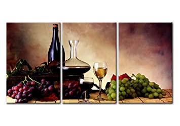 canvas print wall art painting for home decor still life of red grape wine goblet and - Home Decor Paintings