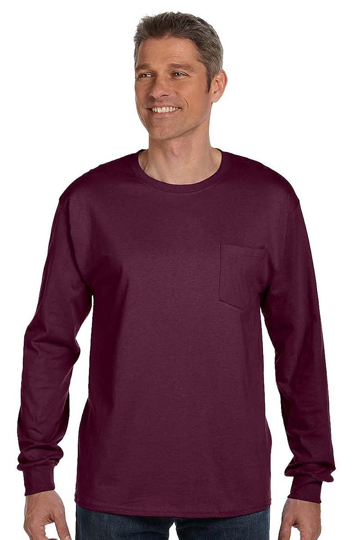 Hanes Men's TAGLESS Long-Sleeve T-Shirt with Pocket 5596, Maroon
