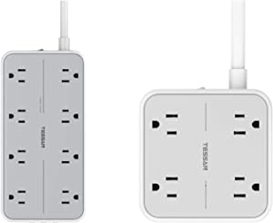 Power Strip with USB, TESSAN Mountable Flat Plug Extension Cord with Widely Spaced Outlets, 3 USB Charger, Desktop Charging Station for Home, Office, Dorm Essentials, Gray