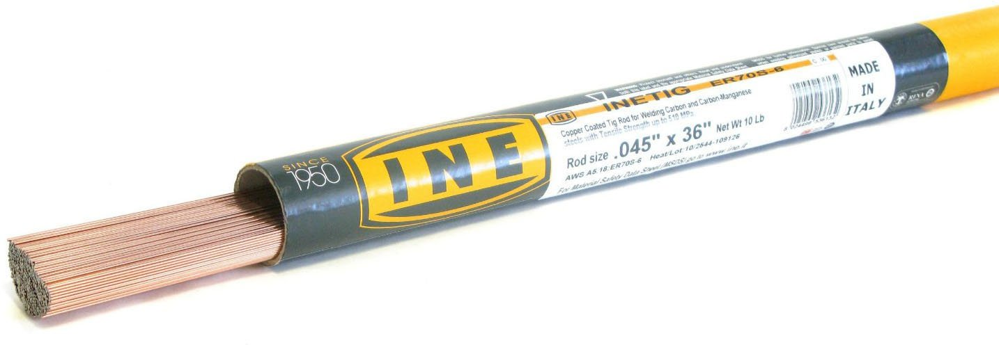 INETIG ER70S-6 .045 x 36-Inch on 10-Pound Tube Copper Coated Tig Rod for Welding Carbon Manganese Steels