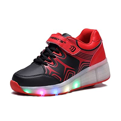 fc8dc011c1e Boy Girls LED Light Roller Skate Shoes with Single Wheel Outdoor Sneaker (Little  Kid Big Kid)