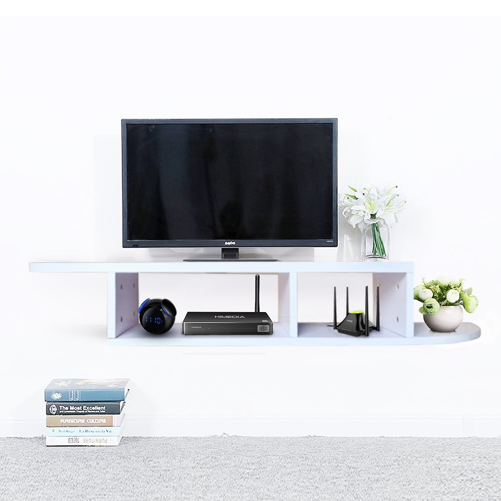 2 Tier Floating Shelf Wall Mount TV Console, Media Stand Entertainment Center for Cable Boxes, Routers, Remotes, DVD Players, Game Console, Books(White)