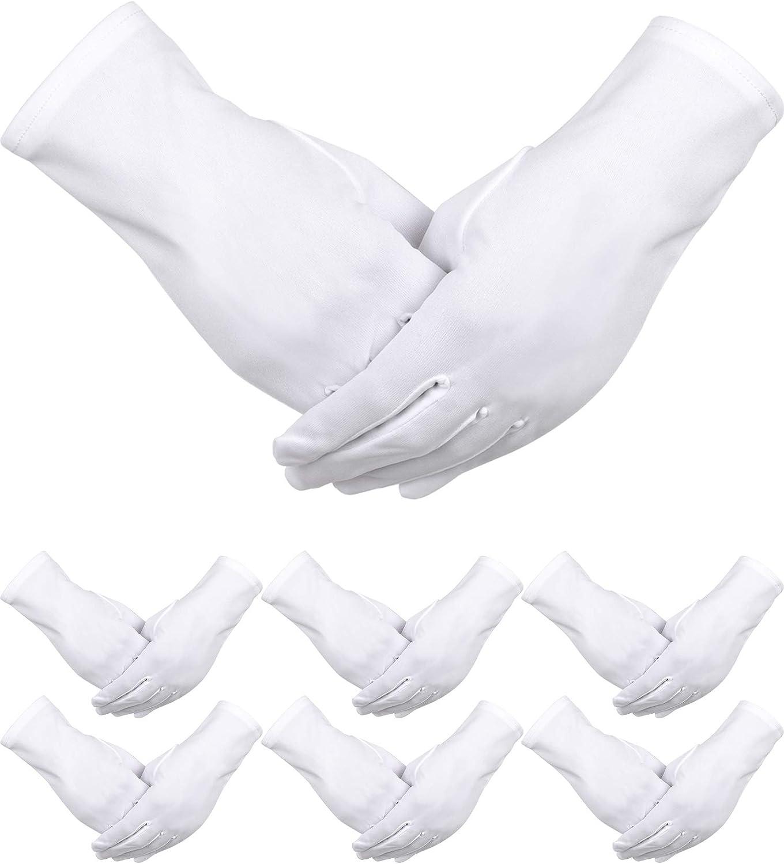 6 Pairs White Nylon Gloves for Police Formal Tuxedo Guard Parade Costume (White): Clothing