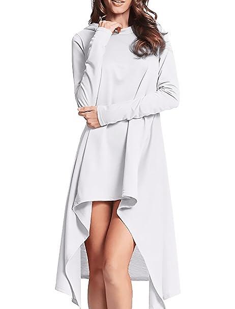 Sudaderas Mujer Con Capucha Largos Tallas Grandes Otoño Encapuchado Vestido Fiestas Cortas Irregular Suelto De Vestidos