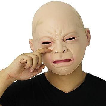 Cusfull Novedad de Látex de Caucho Grito Espeluznante Bebé Cara Cabeza Máscara Halloween Navidad Traje Fiesta