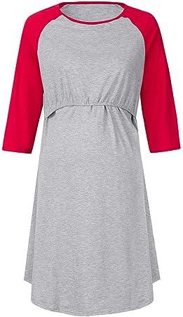 Vestido De Maternidad Para Mujeres Hospital 3 En 1 Parto Trabajo De Maternidad Enfermería Camisón Camisa De Lactancia Plisada Costuras De Manga Raglán Camisa De Dormir Ropa De Dormir,Rojo,M: Amazon.es: Hogar