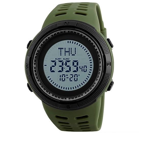 Reloj deportivo,Reloj led digital de múltiples funciones brújula ejecutando sincronización luminosa de alarma impermeable al aire libre-D: Amazon.es: ...
