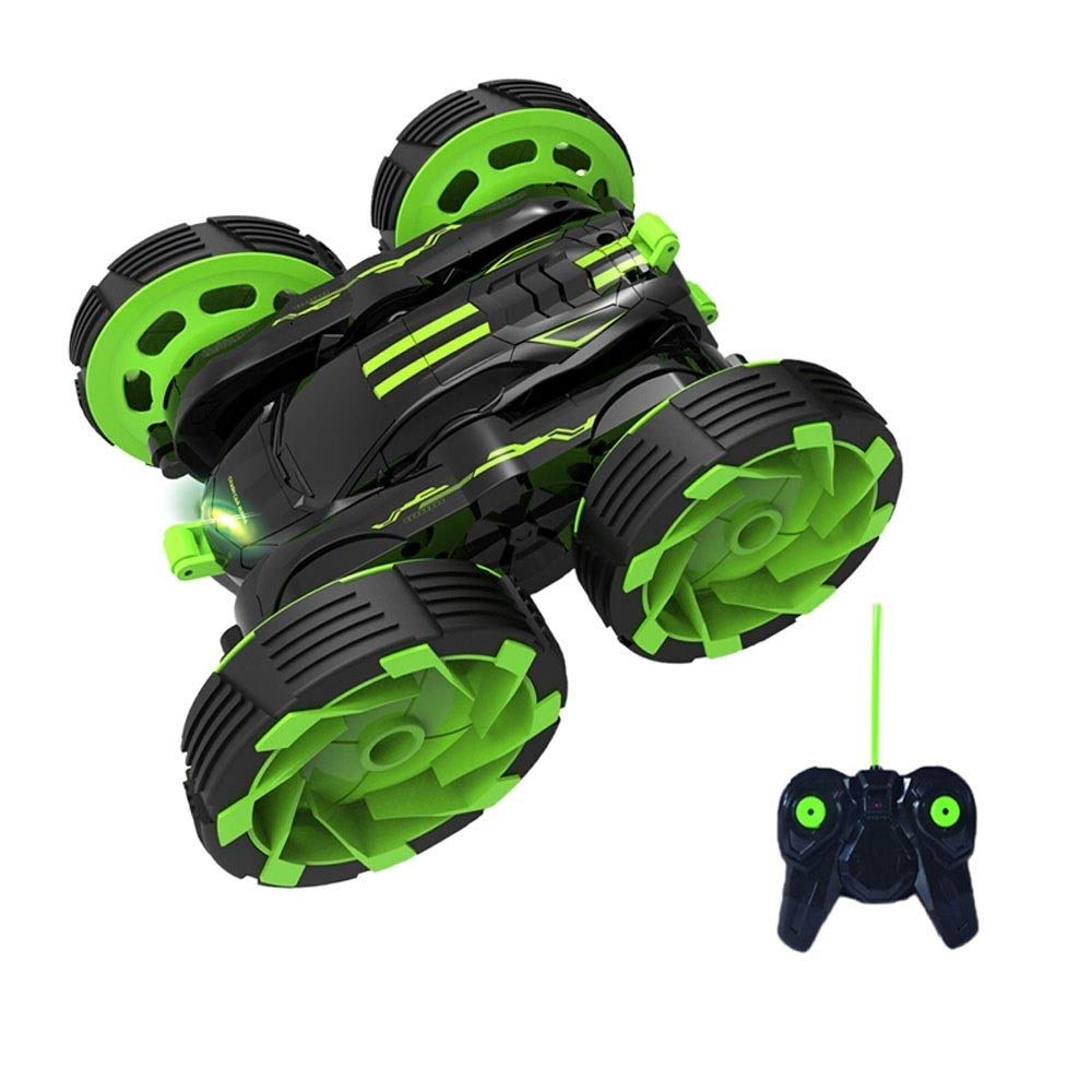 TBFEI Double Sided Rotating Tumbling 360 Degree Flips,RC Truck with LED Headlights Children Remote Control Toy Charging Stunt Dump Truck RC Car Remote Control Stunt Car (Color : Green) by TBFEI (Image #3)