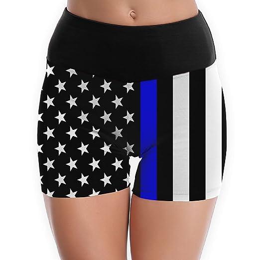 44fd42c533 Galiy Blue Thin Line Us Flag Womens Waist Band Yoga Shorts Workout Shorts  Yoga Gym Workout Athletic Sport Shorts XL at Amazon Women's Clothing store: