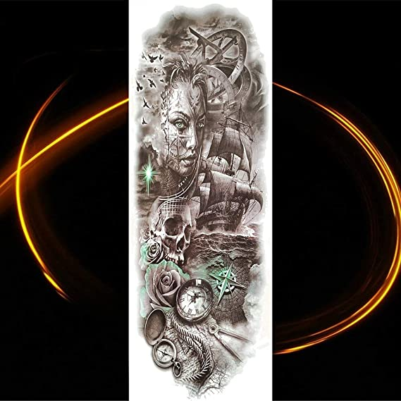 Yyoutop Gran Brazo Completo tótem Negro Tatuaje maorí Impermeable ...