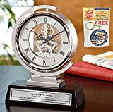 Gear Da Vinci Metal Silver Desk Clock Which Rotates 360 Degrees with Silver Engraving Plate. Unique Engineering, Anniversary, Retirement and Appreciation Award