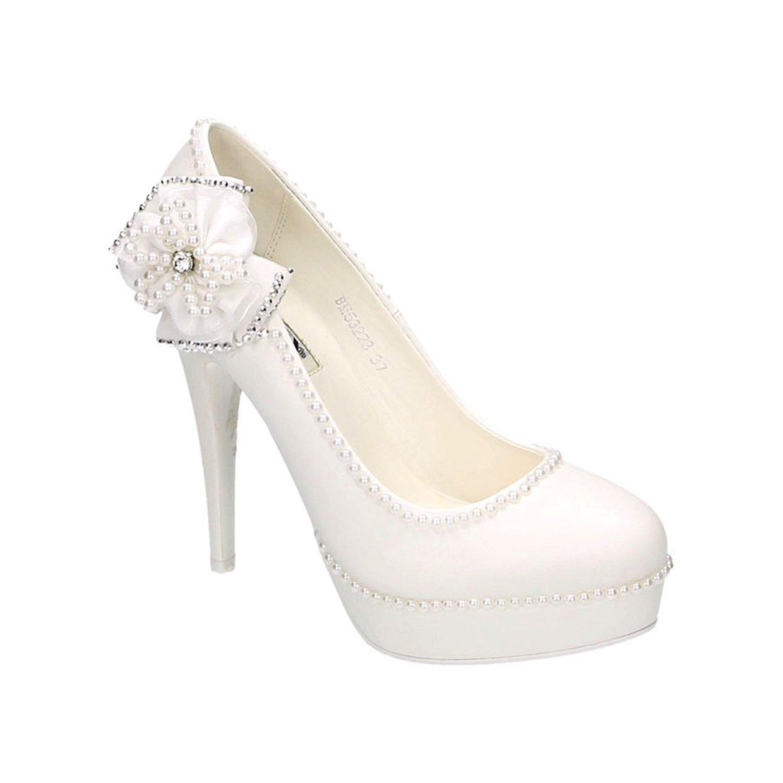 Damen Brautschuhe Hochzeit Pumps Weißszlig; Strass Nieten Stilettos Abend Elegant High Heels Plateau Abend Stilettos Schuhe Bequem Weiß 23 3e96a8