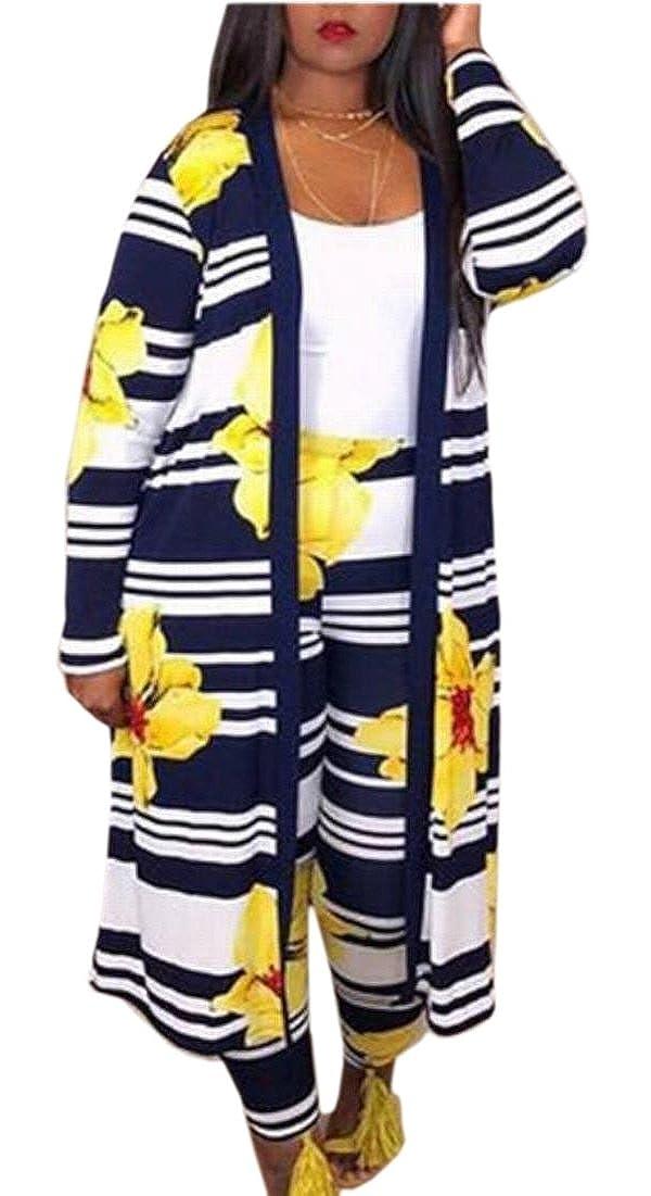 EKU Women Stripe Long Cardigan Blouse Legging Pants 2 Piece Set Outfits