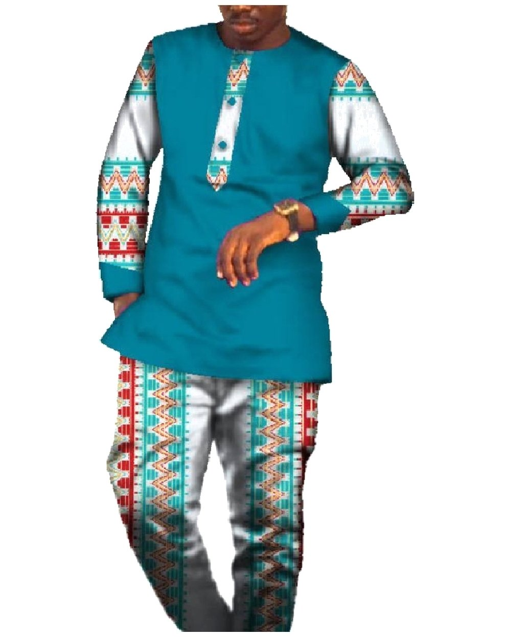 Tootless Men Fine Cotton African Dashiki Good Quality Pants + Tops Sets 9 S