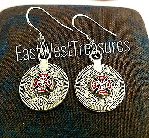 8102d5de2 Image Unavailable. Image not available for. Color: Firefighter Maltese red  cross disc coin dangle drop earrings-Firefighter fireman jewelry ...