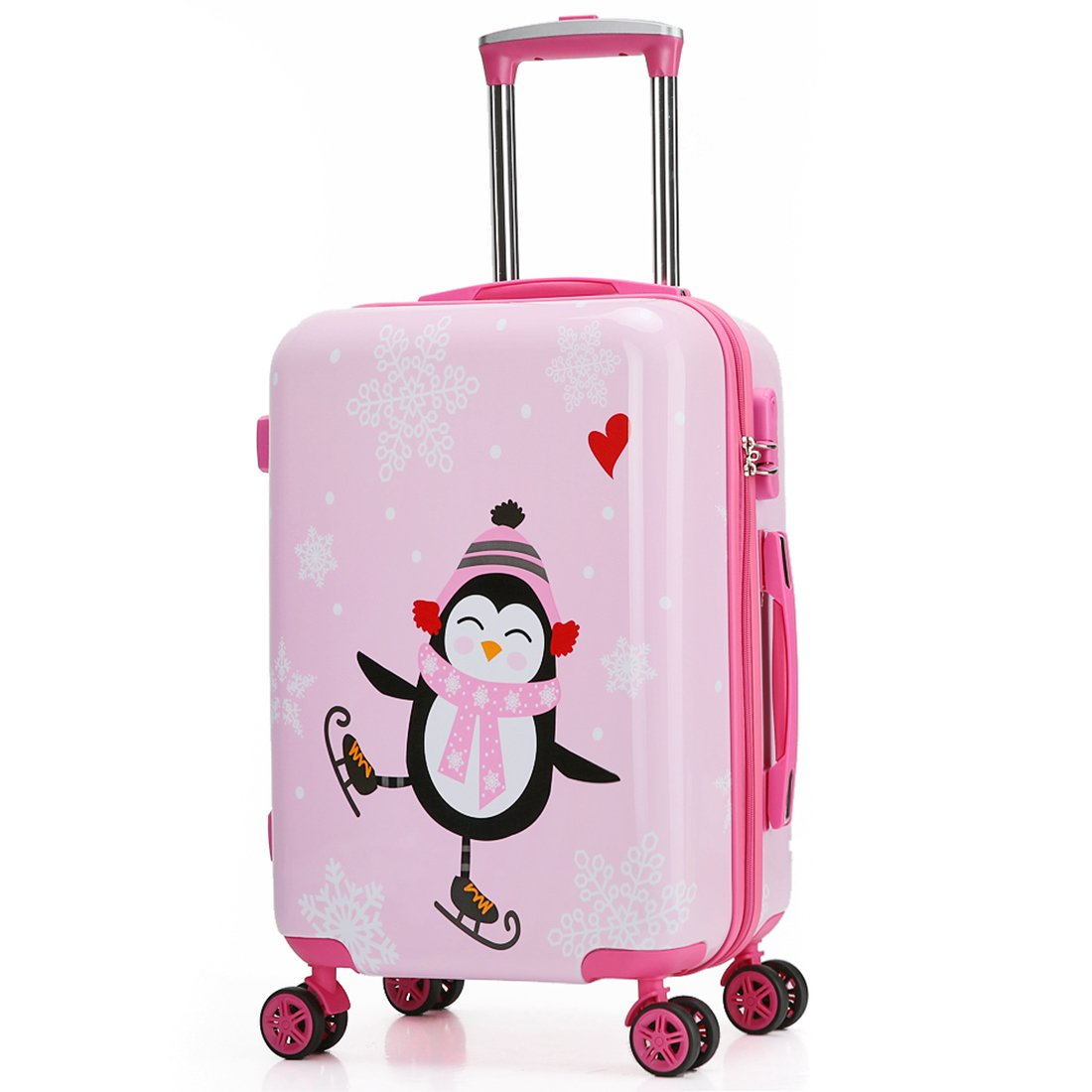 Kids Luggage Carry On Luggage With Spinner Wheels Toddlers Teenage Children Boys And Girls Travel Trolley Case (20inch, Pink scarf penguin) by TOKERS