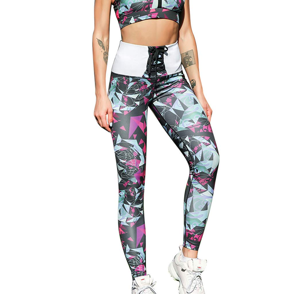 High Waist Yoga Pants for Women Tummy Control Bandage Fitness Sports Running Workout Leggings with Pockets (M, Pink)
