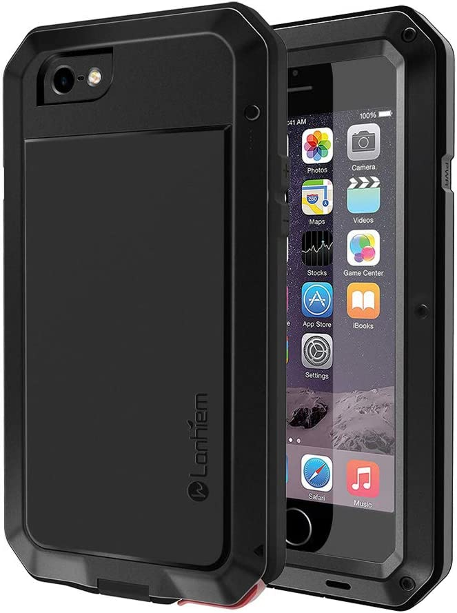 Lanhiem iPhone 5 / 5S / SE Case, Heavy Duty Shockproof [Tough Armour] Metal Case with Built-in Screen Protector, 360 Full Body Protective Cover for iPhone 5 5s se, Dust Proof Design -Black