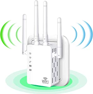 WiFi Range Extender,WiFi Booster,1200Mbps Wireless Signal Repeater Booster,Dual Band 2.4G and 5G Expander,4 Antennas 360°Full Coverage,Internet Signal Amplifier,Extend WiFi Signal to Home