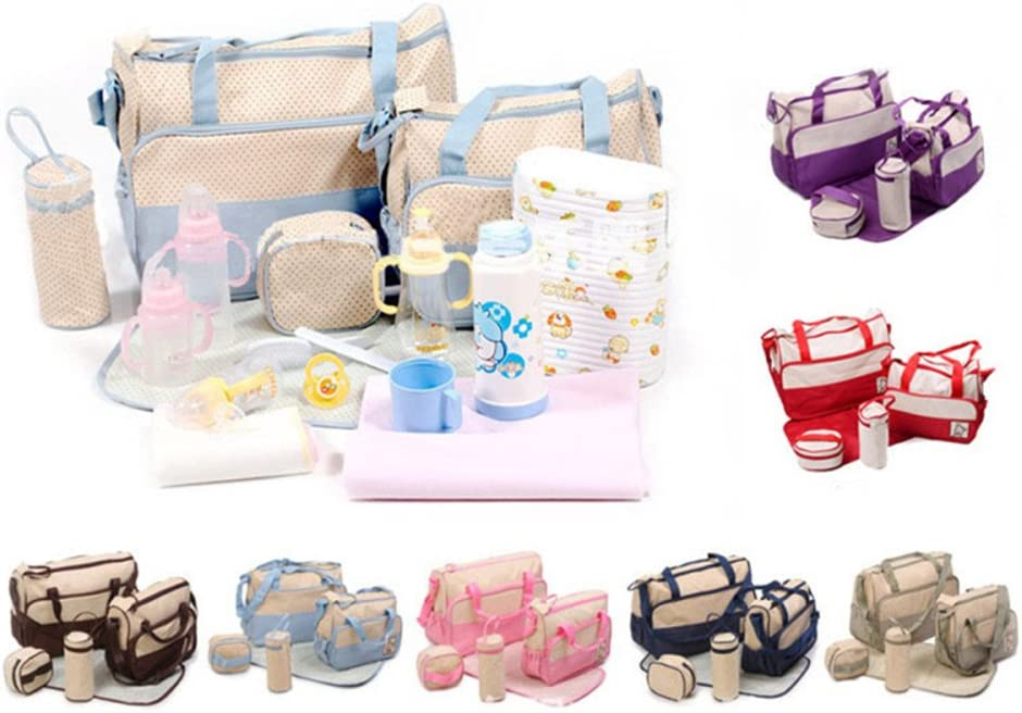 Set 5 kits, Bolsa de Mama Para Bebe Biberon Bolso//Bolsa//Bolsillo Maternal Beb/é para carro carrito biber/ón colchoneta comida pa/ñal con Gran Capacidad marr/ón