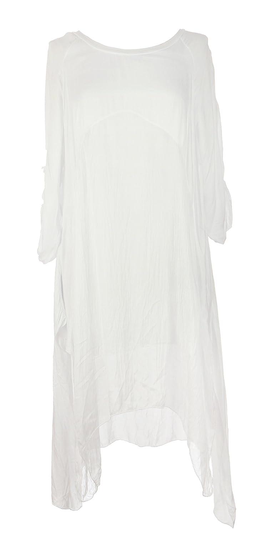Ladies Womens Italian Lagenlook Quirky Plain Silk Viscose Panel Tunic Dress One Size Plus