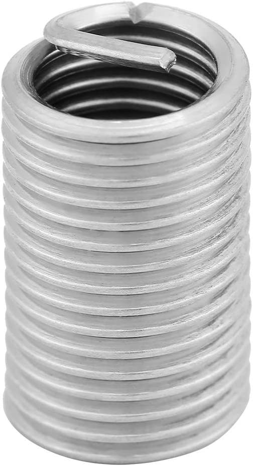 Walfront 10Pcs Wire Thread Inserts 304 Stainless Steel Helicoil Wire Thread Repair Insert Thread Repair Kit M8x1.25x3D Wire Insert Thread with Box