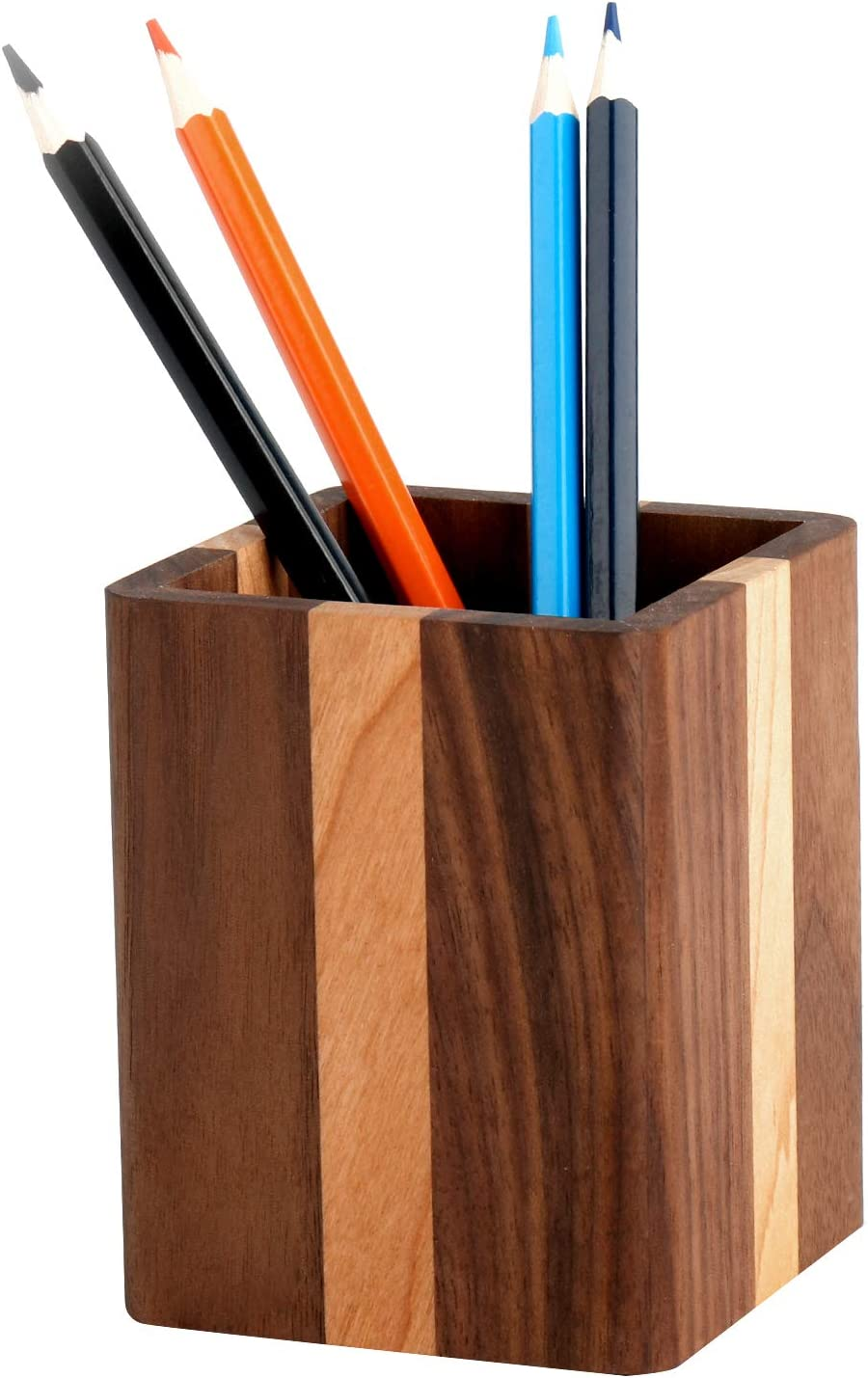 YOYAI Natural Wood Desk Pen Holder Pencil Organizer Desktop Office Pencils Stand Holder Simple(Cherry center walnut side)