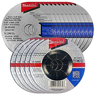 "Makita 15 Piece - 4.5"" Grinding & Cut Off Wheel Set For Grinders - Aggressive Grind & Cut For Metal - 4-1/2"" x 7/8-Inch"