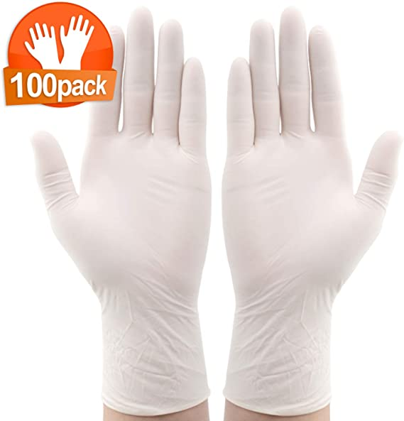 100PCS Disposable Gloves M-Size Latex Gloves Neutral USA Warehouse In Stock Fast Delivery