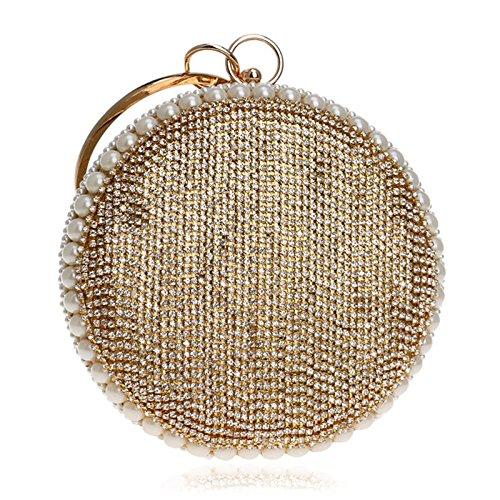 Imitazione Diamonds Borsa Wybxa Donna Borsa Clutch Mini Sera Gold Rotonda tqfqwWI6SA