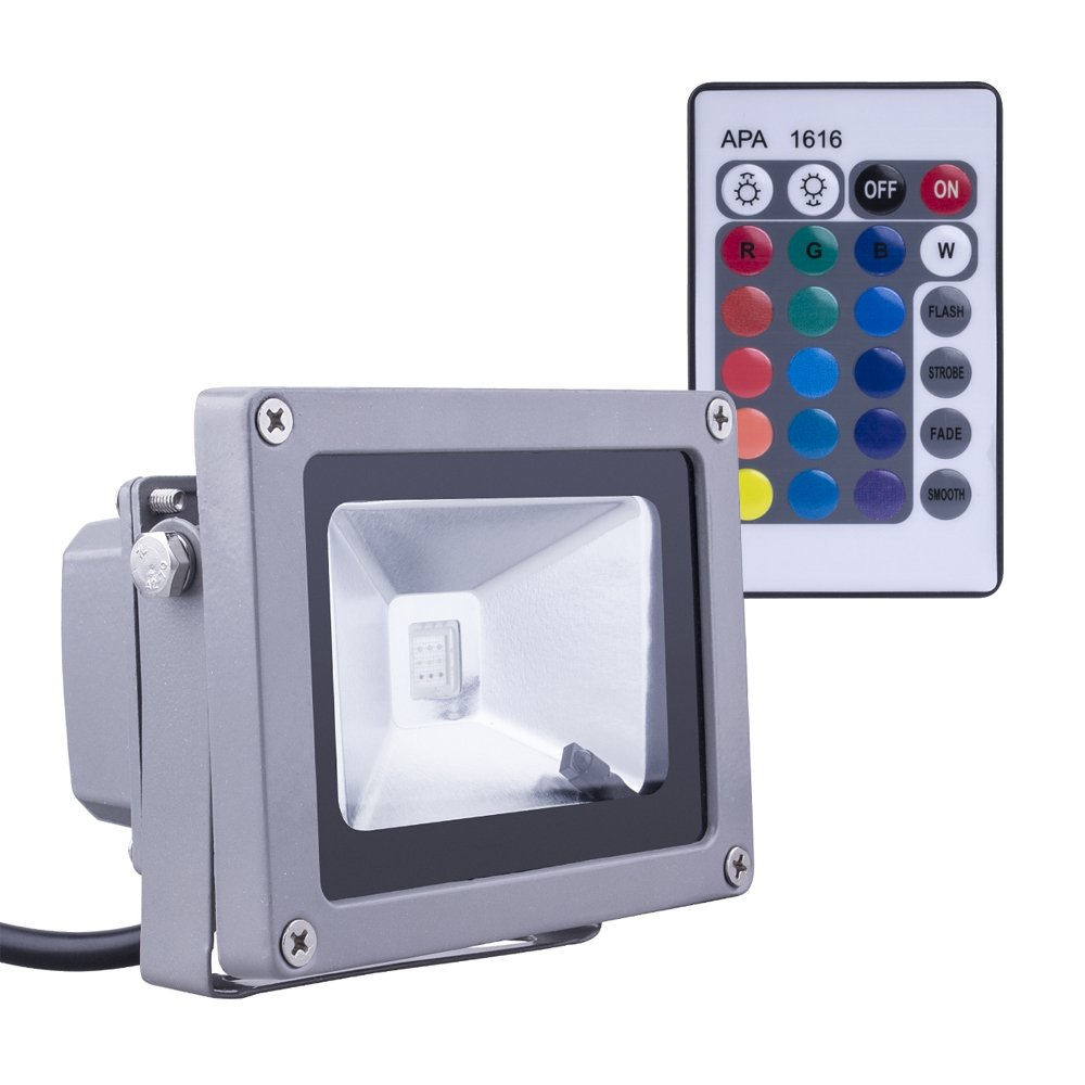 (Promotions Super Discount) Comwinn 10W RGB Waterproof LED Flood Light with US 3-Plug and Remote or Garden,Scenic Spot,Hotel (Red,Green,Blue)