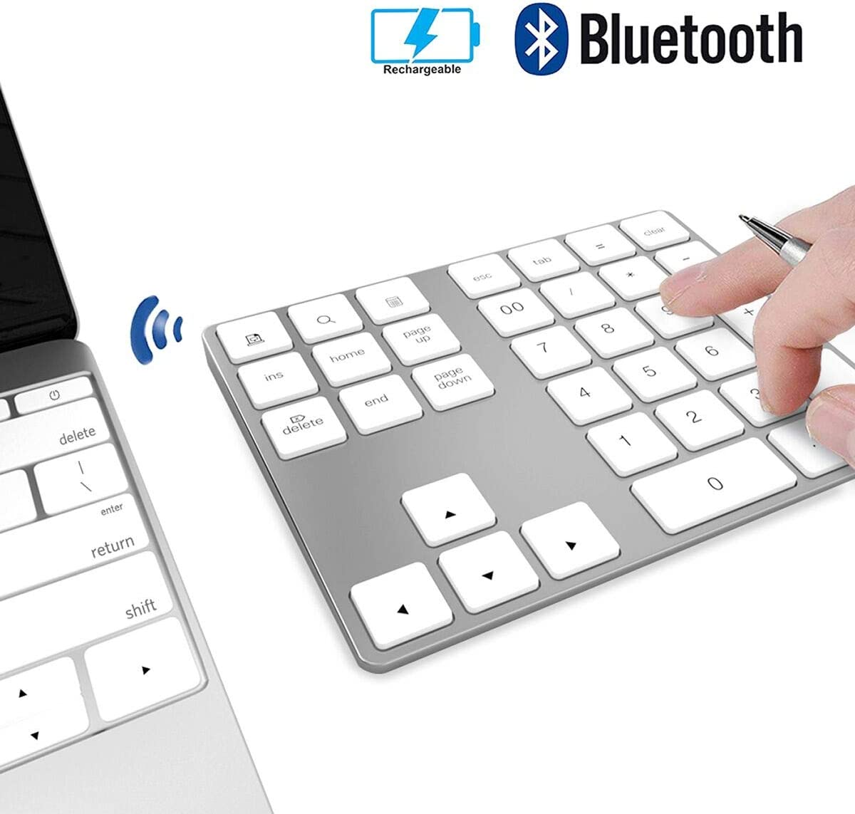 Wireless Numeric Keypad, JOYEKY Aluminum Bluetooth Number Pad 34-Keys External Number Keyboard Shortcut Keypad Data Entry Compatible iMac MacBook Air, MacBook Pro, MacBook and Mac Mini etc (Silver)