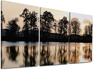 NOAON Wall Art Vibrant Canvas Prints 16 x 32 Inch x 3 Pcs Lake Lakeside Trees Evening Sun Sunset Mirroring for Home Decor Ready to Hang Wood Framed