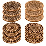 AIEX Drink Coaster Set Absorbent Cork Coasters Mandala Cup Coasters Cup Mat for mugs and cups,wine glasses,Set of 12