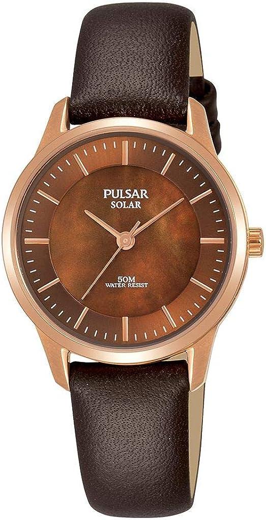 Pulsar Reloj analogico para Mujer de Energía Solar con Correa en Piel PY5044X1
