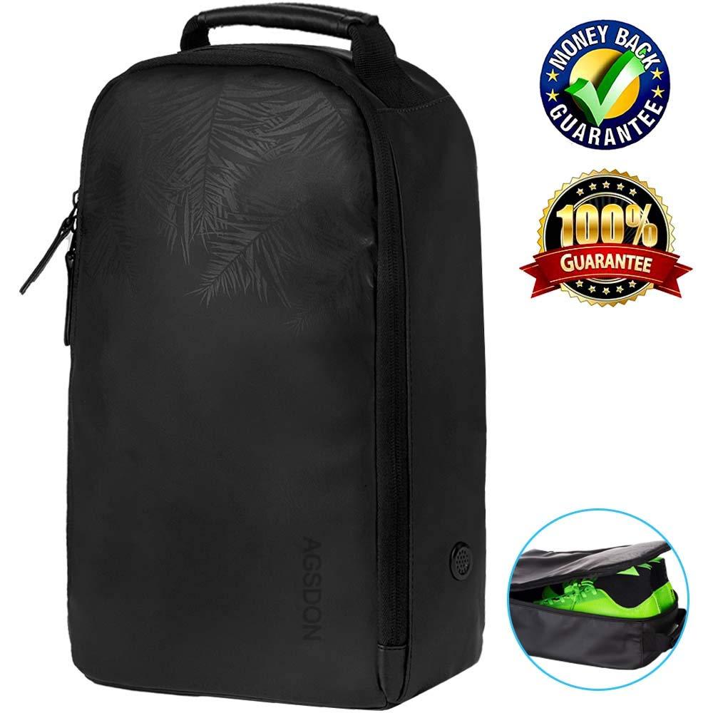 AGSDON Golf Shoe Bag, Premium Zipped Sports Bags Shoes Case - Black by AGSDON