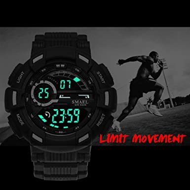 Amazon.com: SMAEL Mens Digital Watch LCD Sports Watch Waterproof Wrist Watch for Men Multifunctions Electronics Quartz Watch (White): Watches