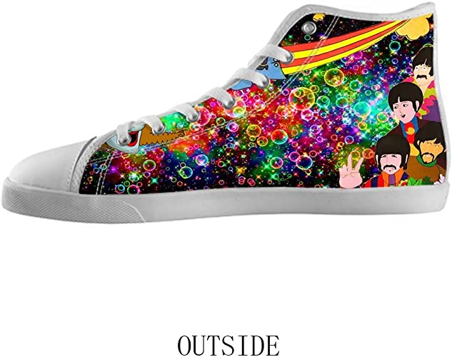 White High Top Canvas Shoes Rock Band
