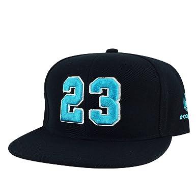 Number  23 Black Aqua White Outline Snapback Hat Cap X Air Jordan 11 ... d78fd03ba15