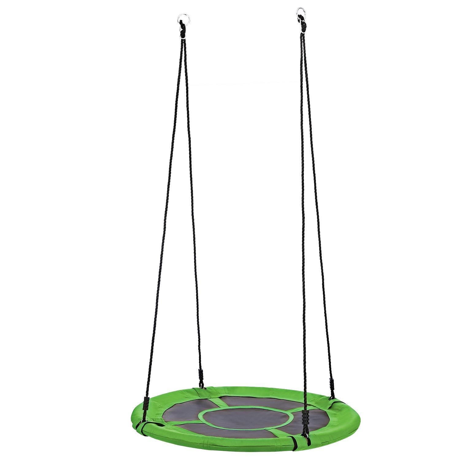 Fashine Outdoor 40-inch Large Tree Swing Set with Adjustable Nylon Rope and Oxford Cloth, Load Capacity 440lb (Green(Round))