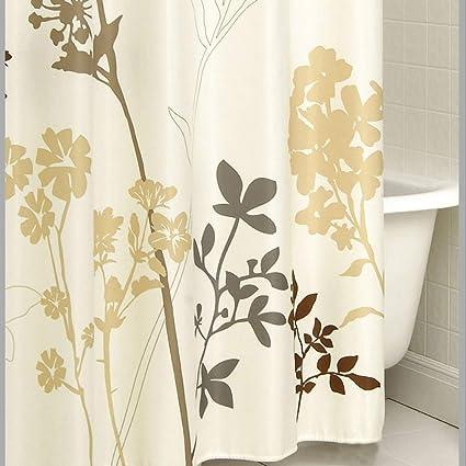 Charmant DS BATH Silhouette Flower Shower Curtain,Mildew Resistant Fabric Shower  Curtain,Plants Shower Curtains