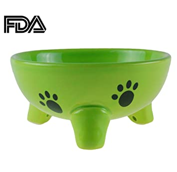 gomass pet supplies fishbone grain tripods cat and dog bowl ceramic bowl feeder green
