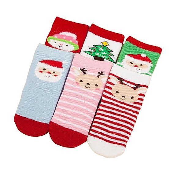 5 pares de niños para niños tema de Navidad calcetines para bebés- paquete de bebé de festivos calcetines de Navidad Deyou: Amazon.es: Ropa y accesorios