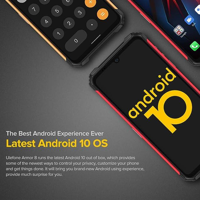 Outdoor Smartphone ohne Vertrag 5800mAh Akku,Rot Marco Objektiv Ulefone Armor 8 Handys Wasserdicht Staubdicht Fallfester Android 10 AI Qcta-Core Prozessor 4GB+64GB 6,1-Zoll-Bildschirm 16+8MP Kameras