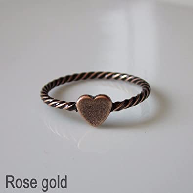 42cda9785650 Antique Vintage inspired Heart Ring One size Fashion Jewellery Burnished  Ring  9 - Rose gold