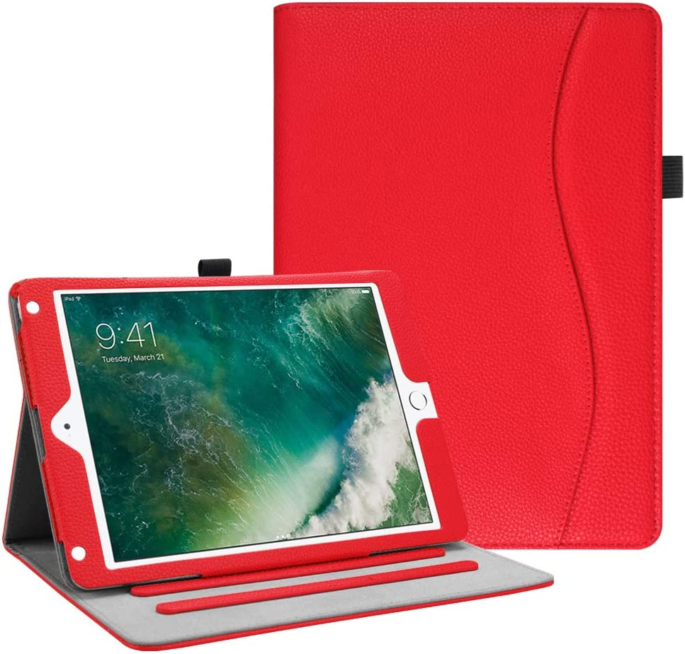 Fintie Case for iPad 9.7 2018 2017 / iPad Air 2 / iPad Air - [Corner Protection] Multi-Angle Viewing Folio Cover w/Pocket, Auto Wake/Sleep for iPad 6th / 5th Gen, iPad Air 1/2, Red