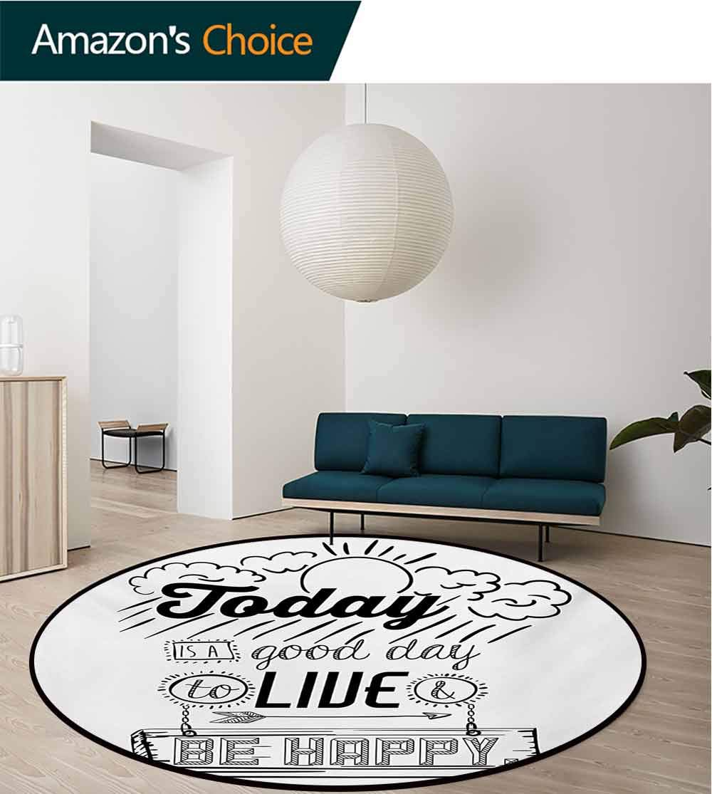RUGSMAT Quotes Modern Machine Round Bath Mat,Today is A Good Day to Live Be Happy Enjoy Reminding Gratitude Inspire Vision Non-Slip No-Shedding Kitchen Soft Floor Mat,Round-71 Inch