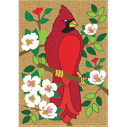 Red Cardinal on Blossom Branch 18 x 13 Rectangular Burlap Double Applique Small Garden Flag