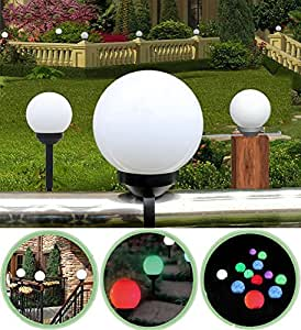 Solar Powered Pathway Ball Lights Waterproof 6 Inch Multicolor Globe Lights for Outdoor Garden Landscape, Walkway, Driveway (6 inch, Black)