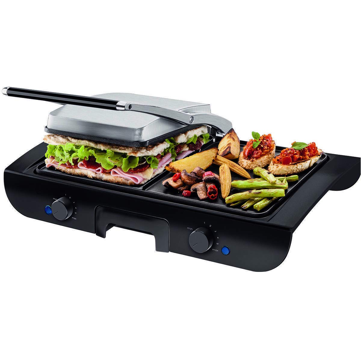 totoshop 1500W Electric 2 in 1 Multi Grill Griddle Sandwich Maker with Nonstick Plates New Black